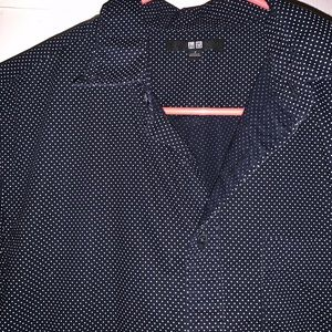 Black and and white dotted button down
